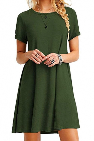 Casual Short Sleeve Round Neck Plain Mini Swing Dress