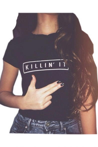 Sleeve Fashion Neck Printed IT KILLIN' Round Short Letter Tee wrHrXzq