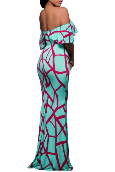 Hot Fashion Off The Shoulder Short Sleeve Ruffle Hem Color Block Maxi Bodycon Dress