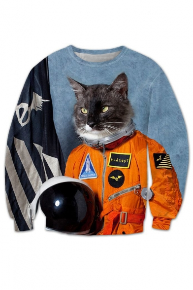 Round Printed Soldier Cat Sleeve Neck Arrival New Cool Sweatshirt Long Cartoon xXCwYSqY