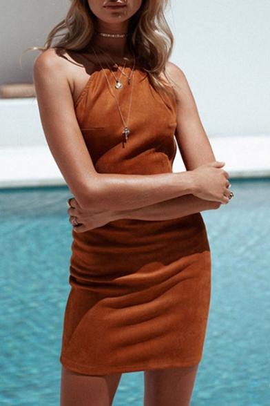 New Fashion Backless Spaghetti Straps Plain Mini Bodycon Slip Dress