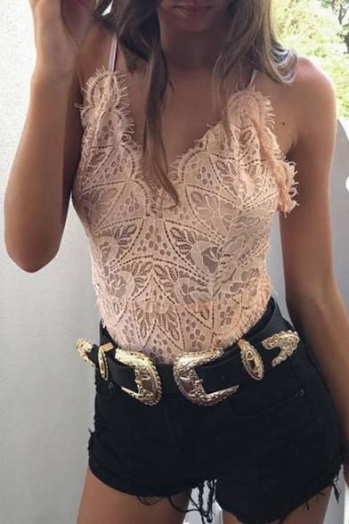 Inserted Plain Fashion New Sexy Lace Sheer Sleeveless Bodysuit FOyIqvU