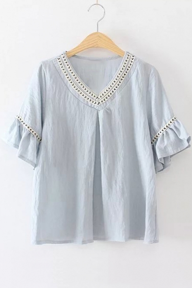 Simple Size Women Summer Blouse V Neck Tiny Flower Pattern Women39s Blouses