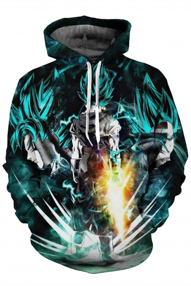 3D Printed Sleeve Sweatshirt Color Cartoon Hoodie Long Block tpRpqw