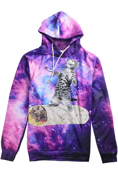 3D Galaxy Cartoon Cat Printed Long Sleeve Loose Leisure Hoodie