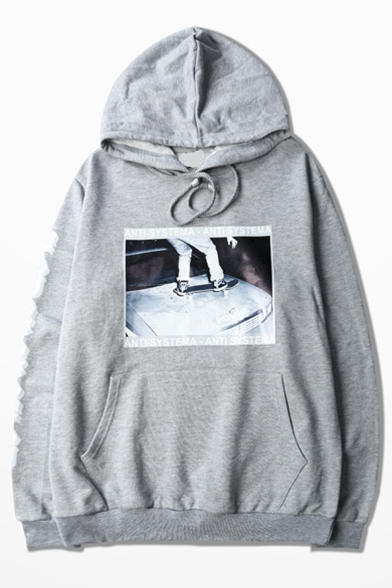 Pockets Long Hop with Style Sleeve Street Hoodie Loose Hip Printed Letter wvPqxPXO