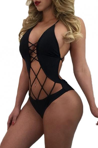 Hot Fashion Sexy Hollow Out Crisscross Halter Neck Plain One Piece Swimwear