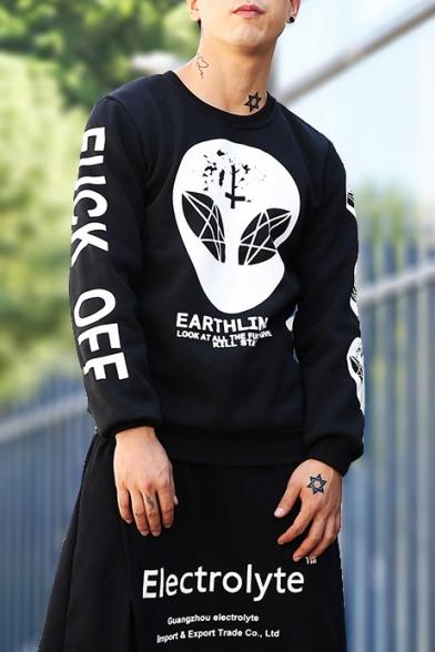 New Fashion Alien Letter Long Sleeve Round Neck Pullover Sweatshirt
