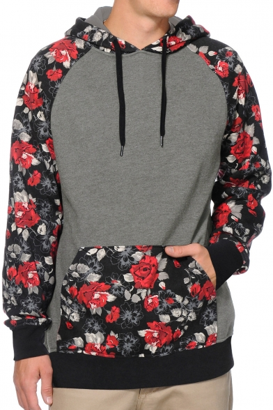 Retro Floral Pattern Long Sleeve Color Block Oversize Hoodie with Pockets