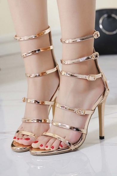 Summer New Stylish Cutout Bandage Multi-Buttons Stiletto High-Heeled Sandal