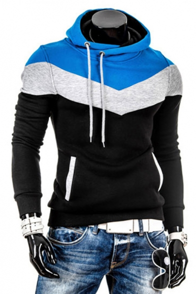 Casual Fitted Fashion Sleeve Long Color Block Hoodie Pullover 8qwUUHB4O1