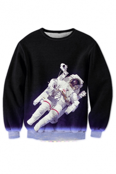 Sleeve Astronaut Round New Long Sweatshirt Pullover Printed 3D Space Neck Fashion gwXXqAx8
