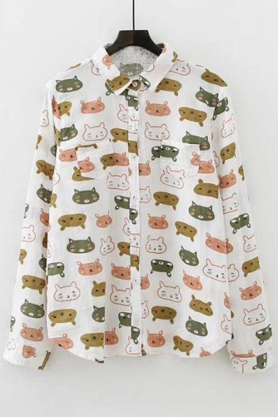 Adorable Color Block Cartoon Cat Printed Long Sleeve Lapel Single Breasted Shirt