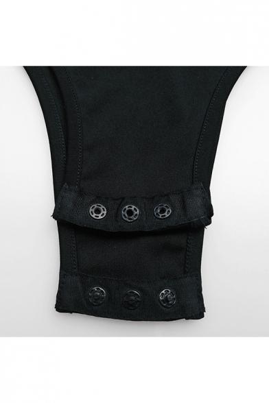 New Stylish Striped Ruffle Front One Shoulder Sleeveless Bodysuit