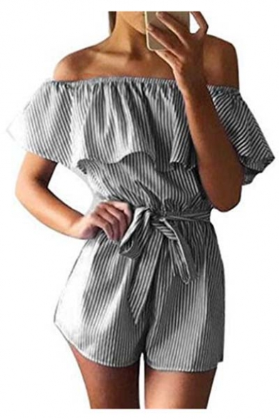 892333b7ffda Striped Printed Ruffle Hem Off The Shoulder Short Sleeve Loose Rompers -  Beautifulhalo.com