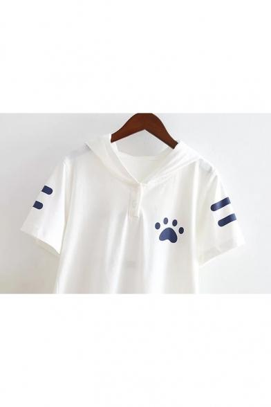 Summer's Fresh Cartoon Cat Printed Hooded Short Sleeve Casual Cotton Tee