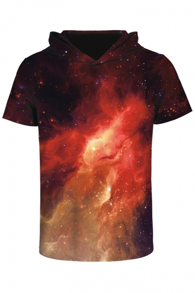 3D Galaxy Printed Short Sleeve Hooded Unisex Tee