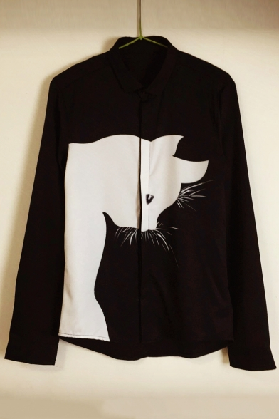 Image of Adorable Contrast Cat Printed Long Sleeve Lapel Single Breasted Shirt