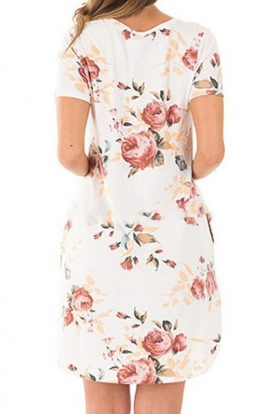 Casual Floral Printed Short Sleeve Round Neck Mini T-Shirt Dress with Pockets
