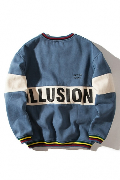 Pattern Round Pullover Long Color Letter Sweatshirt Neck Leisure Sleeve Block XxfqfEwnOU