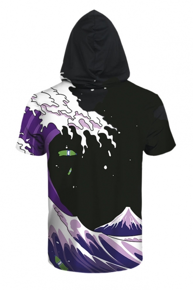 Sleeve Color Short Digital Tee Hooded Block Printed Wave qHqaXt