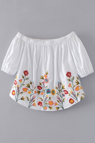 New Fashion Floral Embroidered Boat Neck Short Sleeve Cropped Blouse