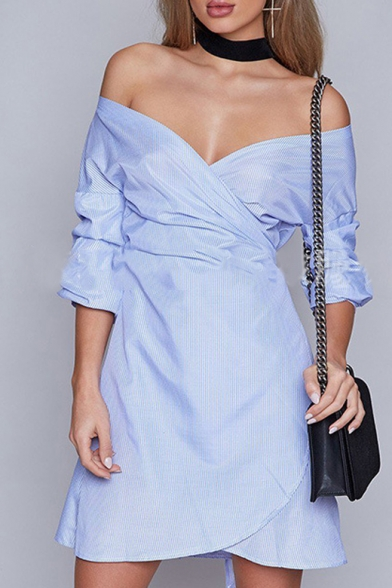 Sexy Wrap Plunge Neck Half Sleeve Belt Waist Plaids Printed Mini Wrap Dress