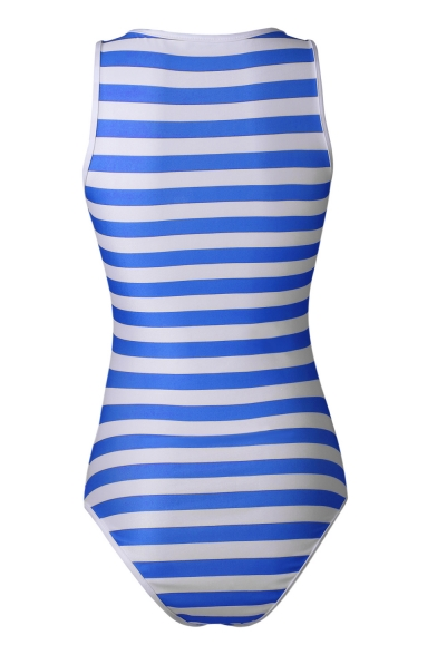 Classic Striped Printed Plunge Neck Sleeveless Bow Tie Front One Piece Swimwear