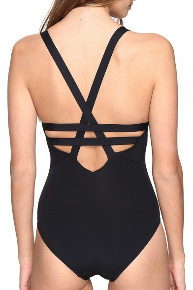 Fresh Cutout Crisscross Back Plain One-Piece Swimwear
