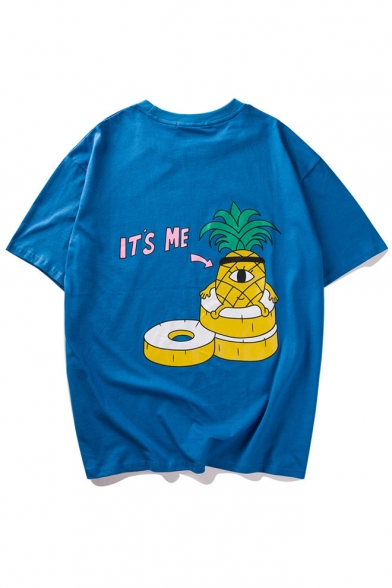 Interesting Cartoon Pineapple Printed Short Sleeve Round Neck Tee