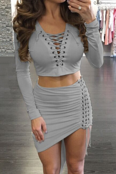 Sleeve Plunge Long with Neck Skirt Bodycon Asymmetrical Top Cropped Up Plain Lace Front wXnxqIR8n6