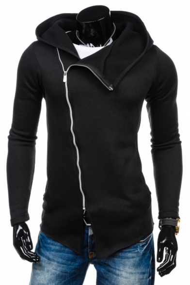 New Fashion Slant Zip Up Long Sleeve Plain Leisure Fitted Hoodie