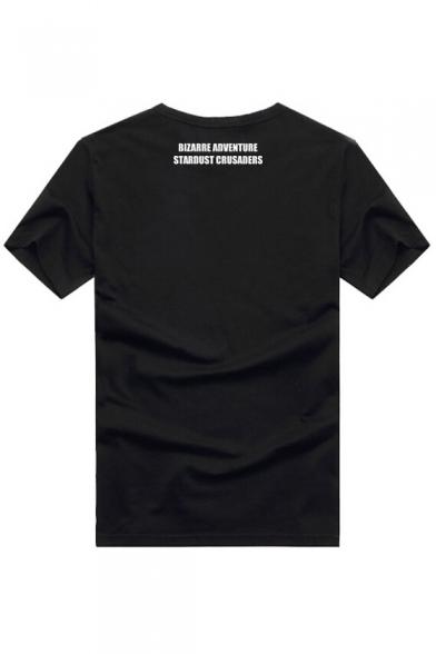 Hip Printed Pullover Shirt New Stylish T Sleeve Round Cartoon Hop Style Short Neck XFO5vUqOn
