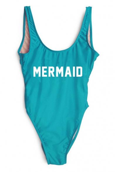 Neck Women's One Printed Pieces Sleeveless Scoop Letter MERMAID Swimwear xvqAvHrX