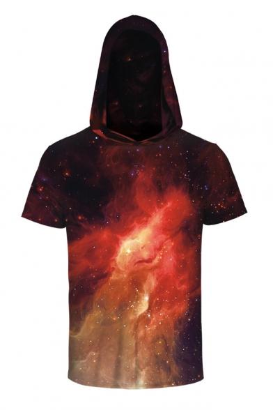 3D Galaxy Printed Short Sleeve Hooded Unisex Tee