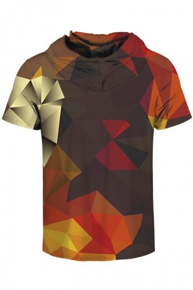 Couple Geometric Printed Short Sleeve Color Block Hooded Tee