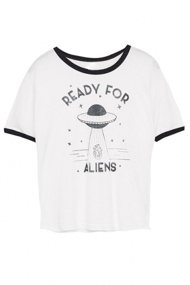 7fc52b7d7 Funny READY FOR ALIENS Graphic Printed Tee with Round Neck Short Sleeve ...