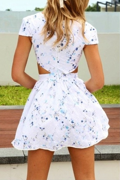New A Sleeve Cutout Mini Floral Dress Waist Short Printed line Arrival rwR7Bqr