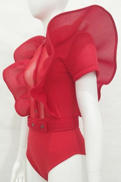 New Stylish Ruffle Sides Single Breasted Sleeveless Plain Bodysuit with Belt