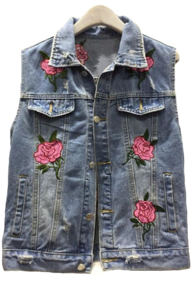 Retro Floral Embroidered Lapel Collar Sleeveless Ripped Denim Vest