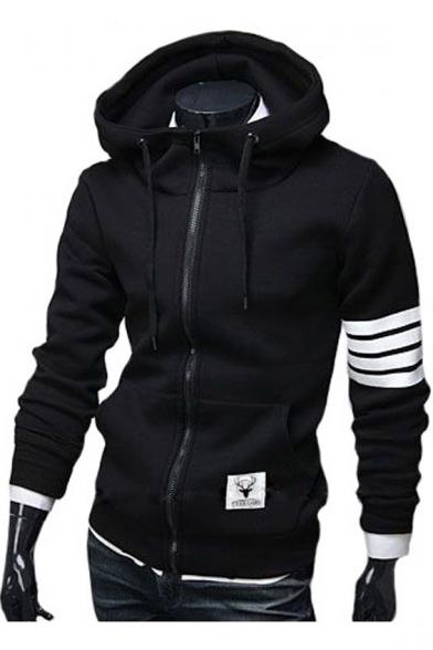 Unisex Drawstring Hooded Striped Long Sleeve Zip Up Hoodie Sweatshirt