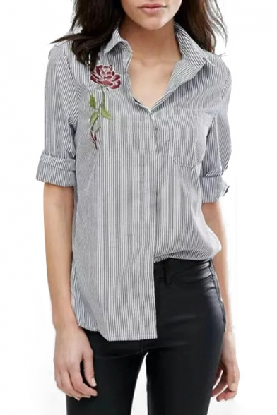 Classic Striped Printed Floral Embroidered Lapel Collar Long Sleeve High Low Shirt