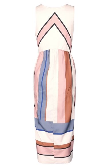 Color Block Striped Printed Round Neck Sleeveless Maxi Tank Dress