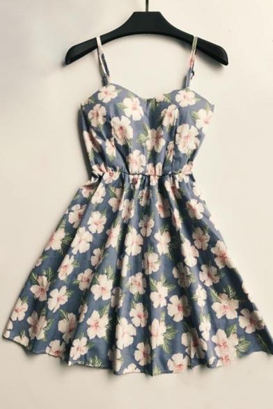 Fresh Floral Printed Spaghetti Straps Sleeveless Mini A-Line Dress