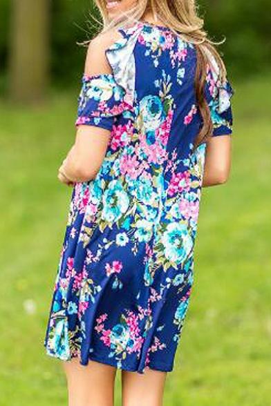 Hot Fashion Cold Shoulder Short Sleeve Round Neck Floral Printed Mini Dress
