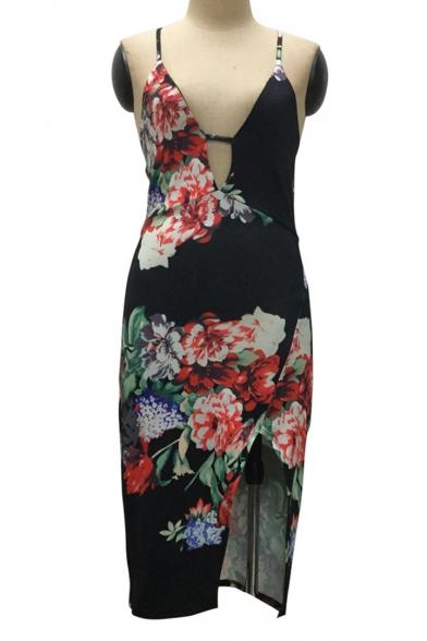 Hot Fashion Retro Floral Printed Spaghetti Straps Slit Side Midi Bodycon Slip Dress