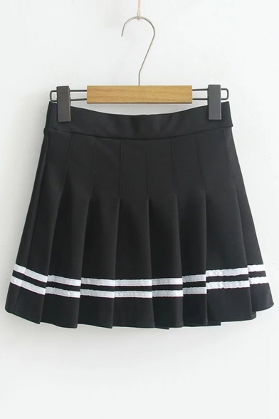 Striped Printed High Waist Mini A-Line Pleated Skirt