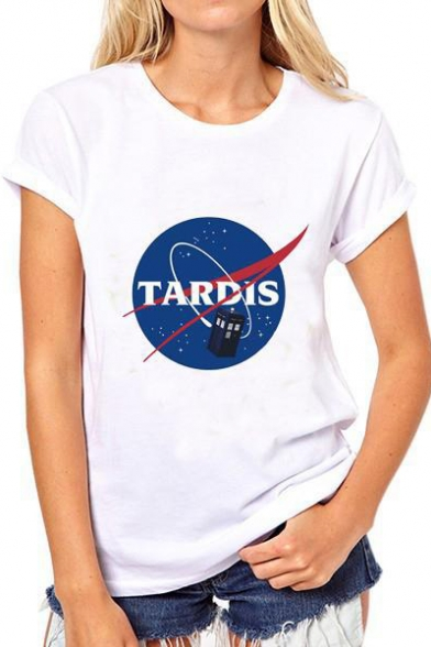 Short Printed Casual TARDIS Unisex Round Tee Sleeve Graphic Neck tq0BwEC0