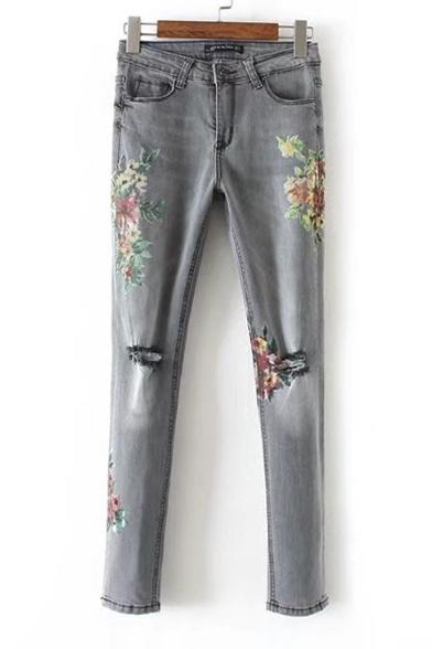 Women's Floral Printed Broken Knees Low Waist Skinny Jeans