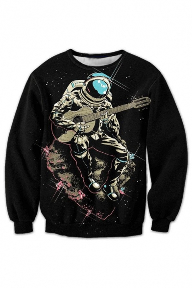 3D Astronaut Playing Guitar Pattern Round Neck Long Sleeve Pullover Sweatshirt